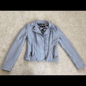 Black Rivet Gray Leather Jacket